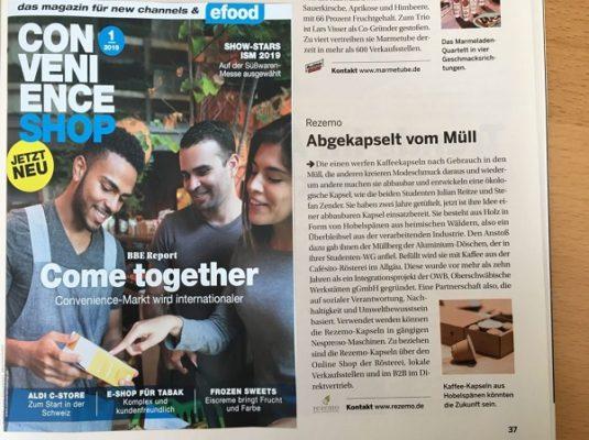 Artikel im Convenience Shop Magazin ueber weniger Verpackungsmuell durch die nachhaltige rezemo Kaffeekapsel