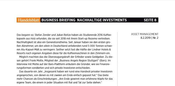 Artikel im Business Briefing des Handelsblatts ueber die nachhaltige Kaffeekapselinnovation von rezemo