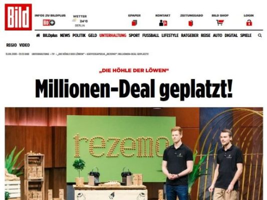 Artikel in der Bild Zeitun güber rezemo Gründer bei DHDL