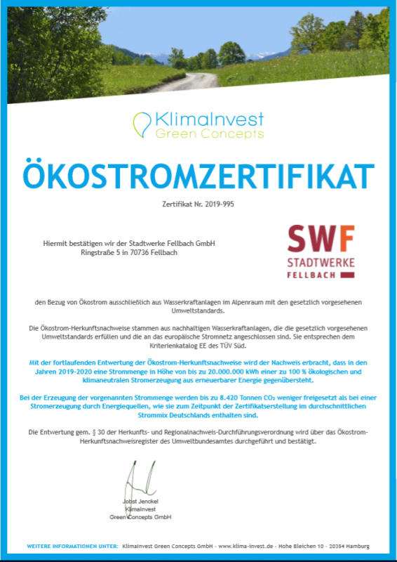 rezemo Oekostrom-Zertifikat
