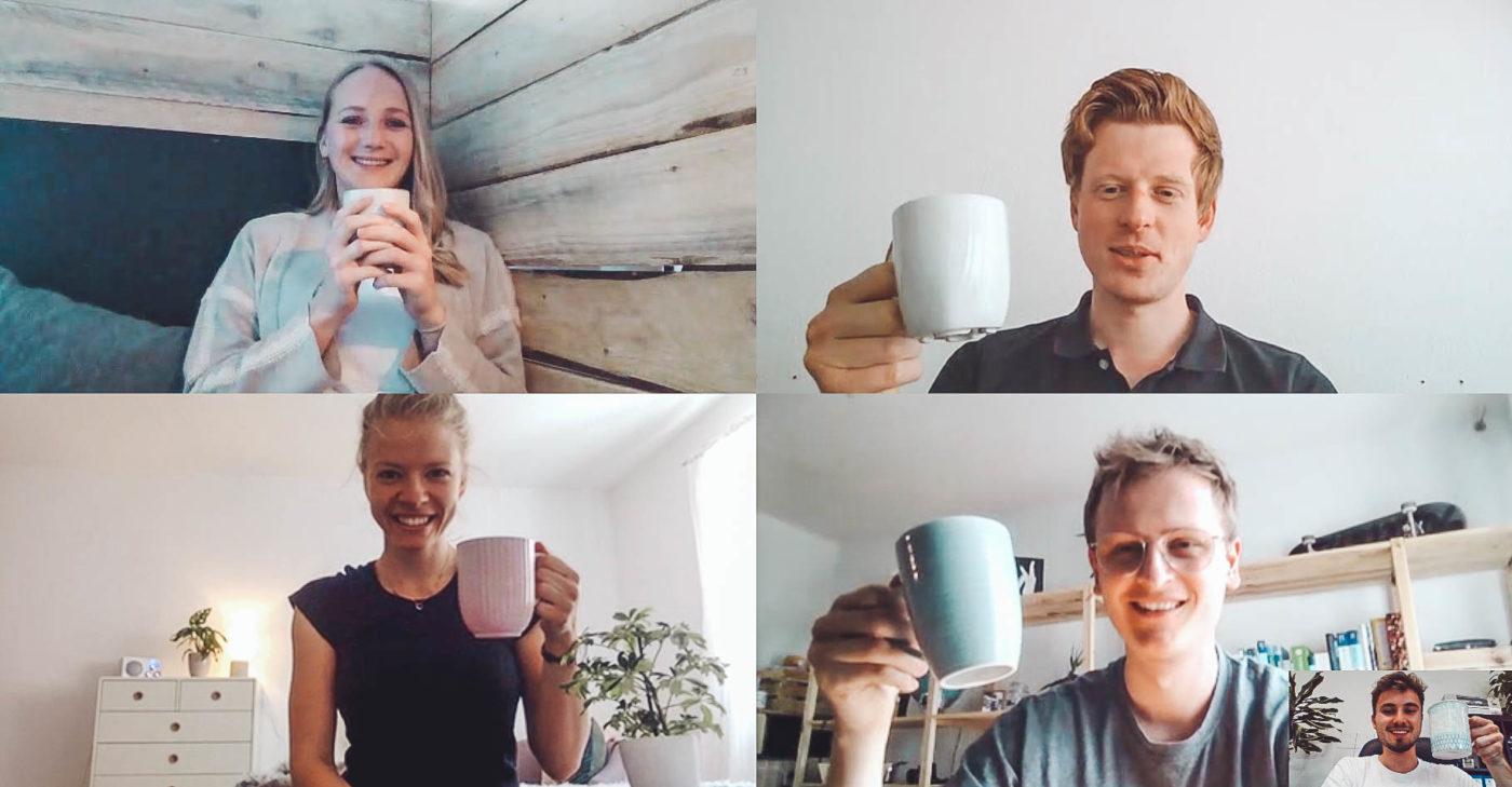 rezemo Mitarbeiter im Konferenz-Video-Call bei der gemeinsamen digitalen Kaffeepause