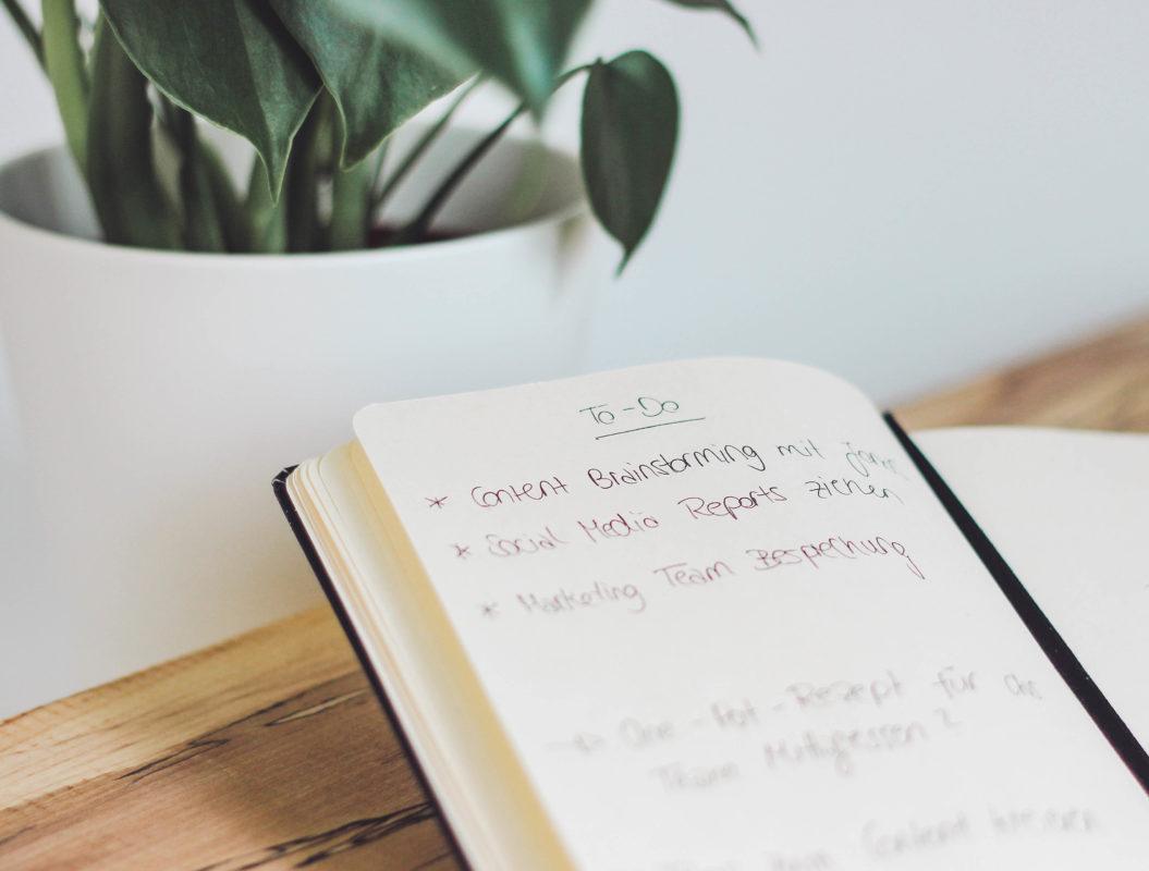 Notizbuch mit To-Do Liste neben Pflanze auf Holztisch