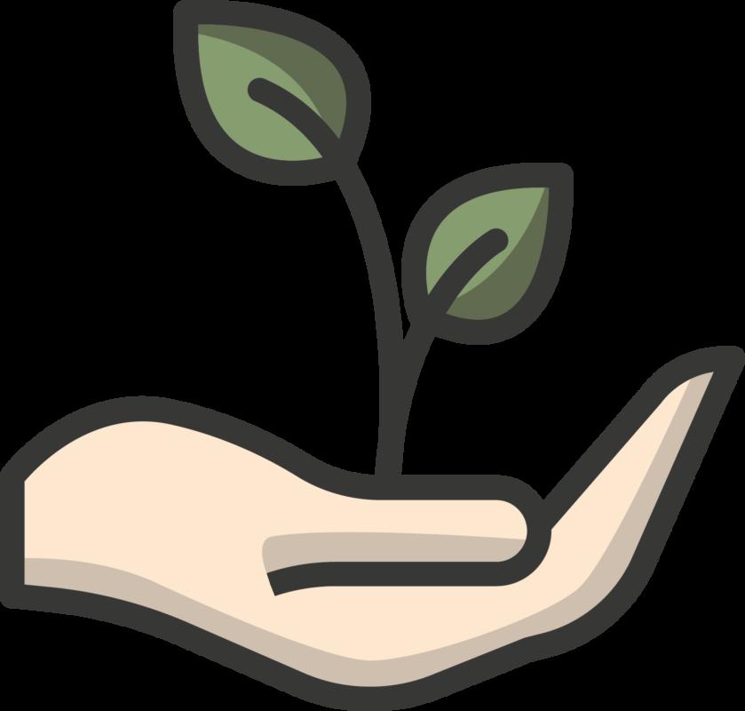 rezemo Icon Pflanze, die in Hand getragen wird fuer Rueckgabe an die Natur