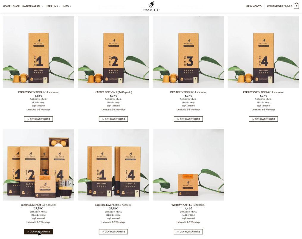 rezemo Shop-Übersicht
