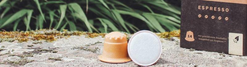 rezemo nachhaltige Kaffeekapseln in der Natur, auf einem Stein liegend