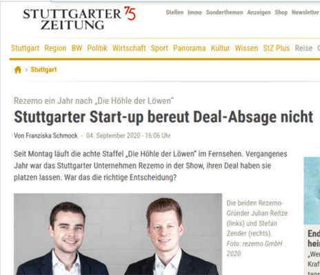 rezemo in the StZ about deal cancellation at DHDL