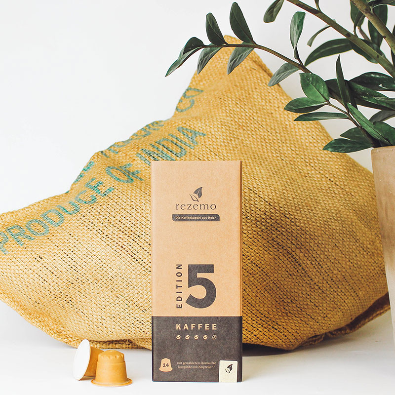 rezemo edition 5 next to plant and coffee bag