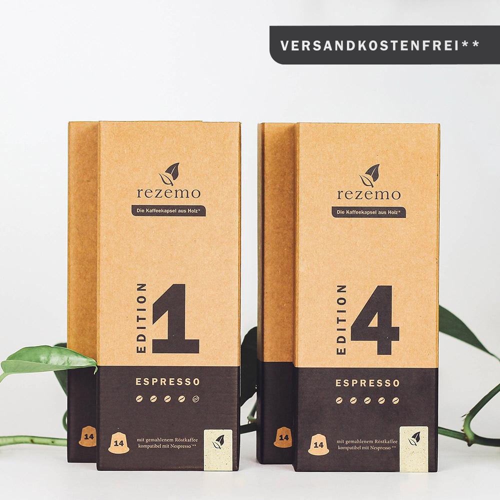 rezemo Espresso Edition 1 und 4 in der 14er Verpackung als Espresso Lover Set