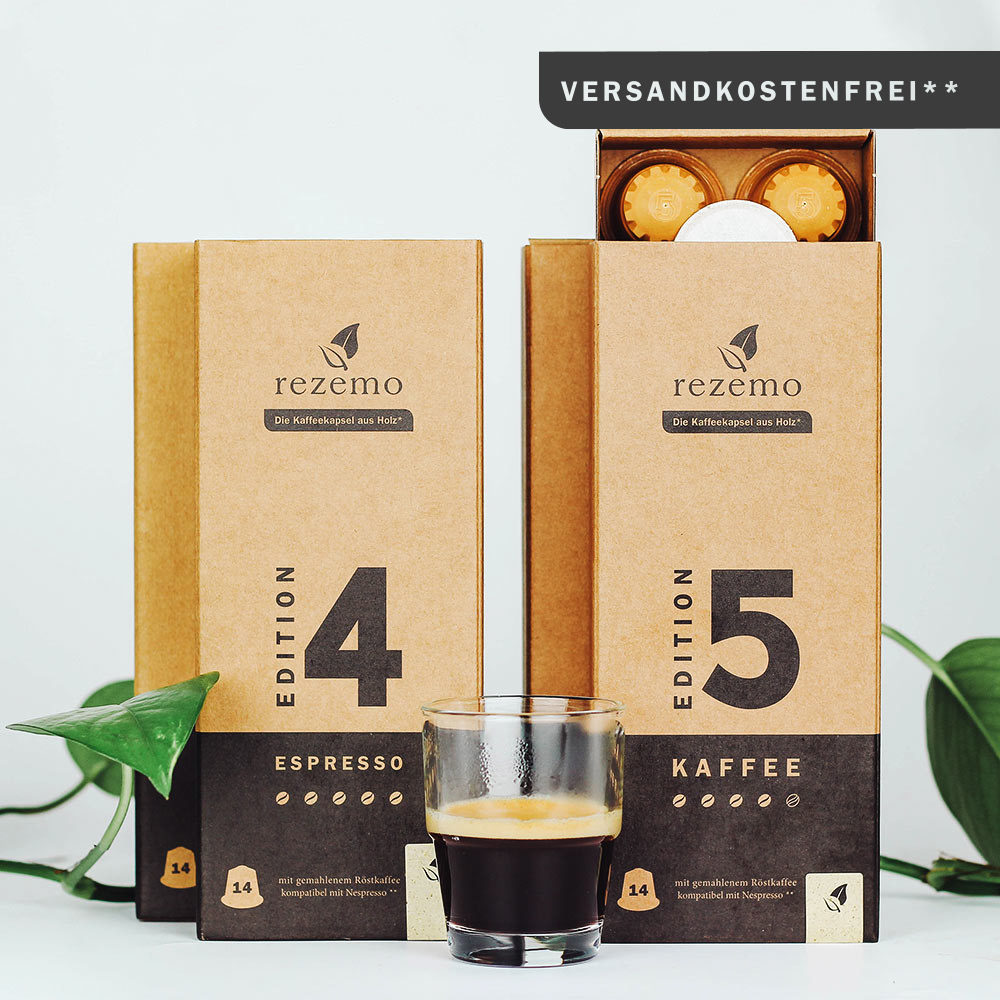 rezemo Intense Collection next to espresso in a glass