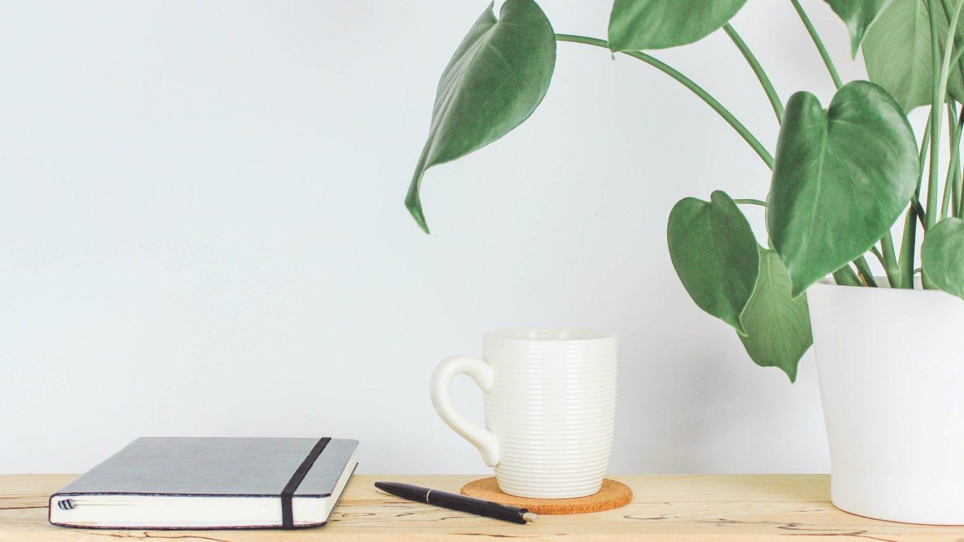 rezemo Kaffee im Homeoffice, mit Notizbuch und Pflanze
